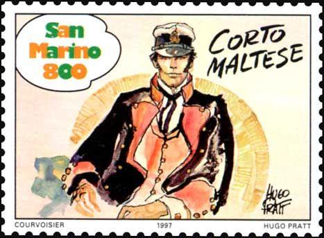 Nel 1997 San Marino ha emesso un francobollo da 800 lire dedicato a Corto Maltese, all'interno di una serie di francobolli sui fumetti.