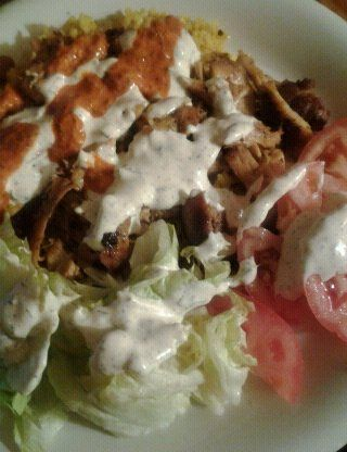 Halal Cart Style Chicken And Rice With White Sauce Recipe