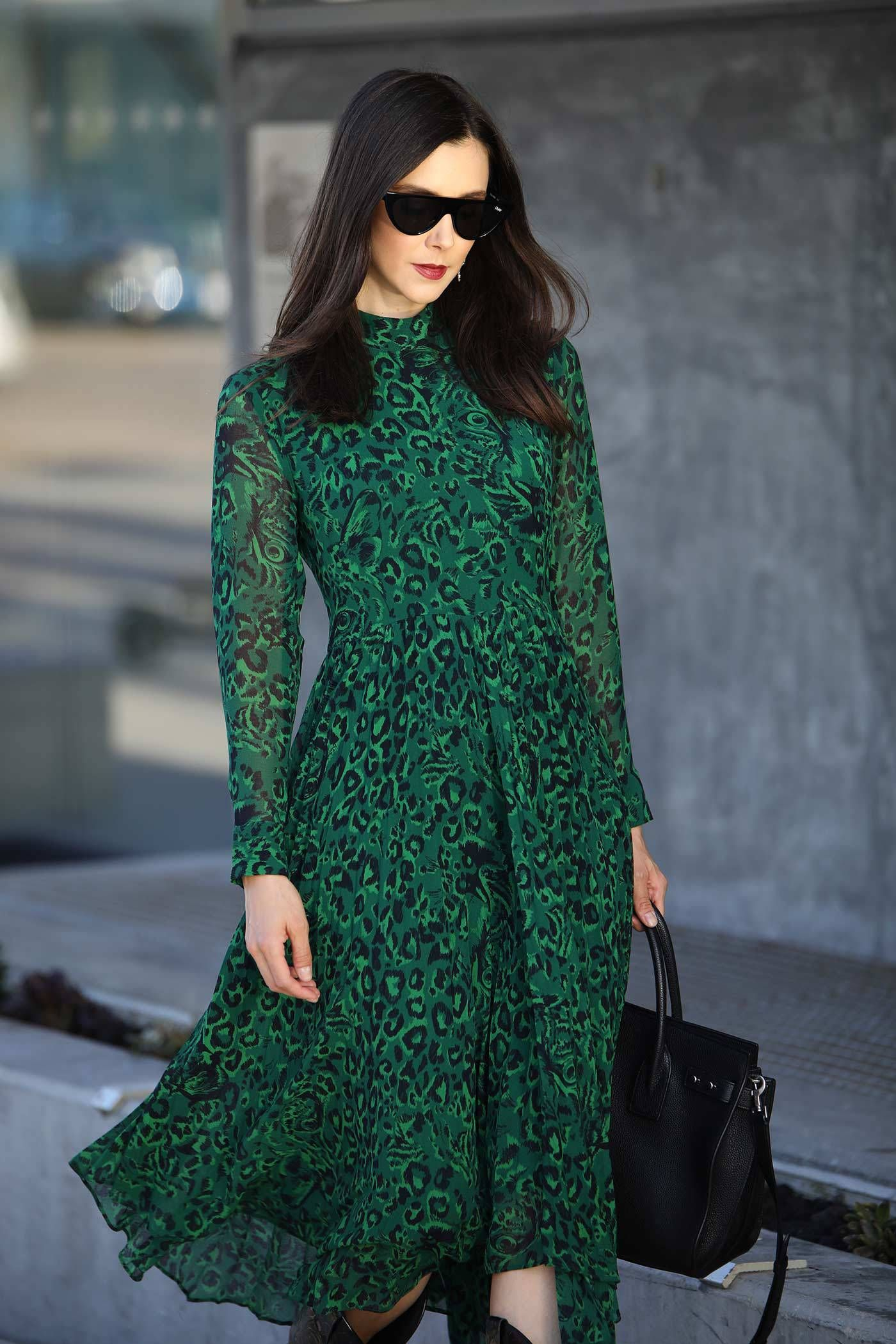 fb10e346de4e Whistles London emerald green leopard print dress