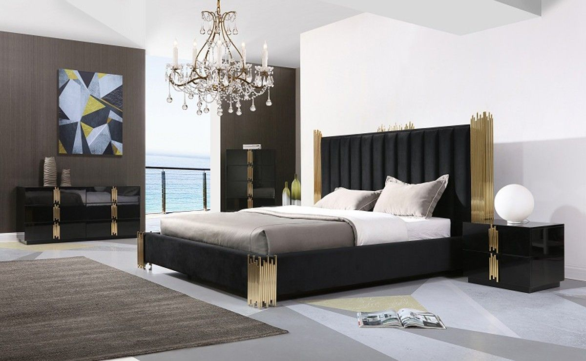 Modrest Token Modern Black & Gold Bedroom Set | Bedroom Set ...