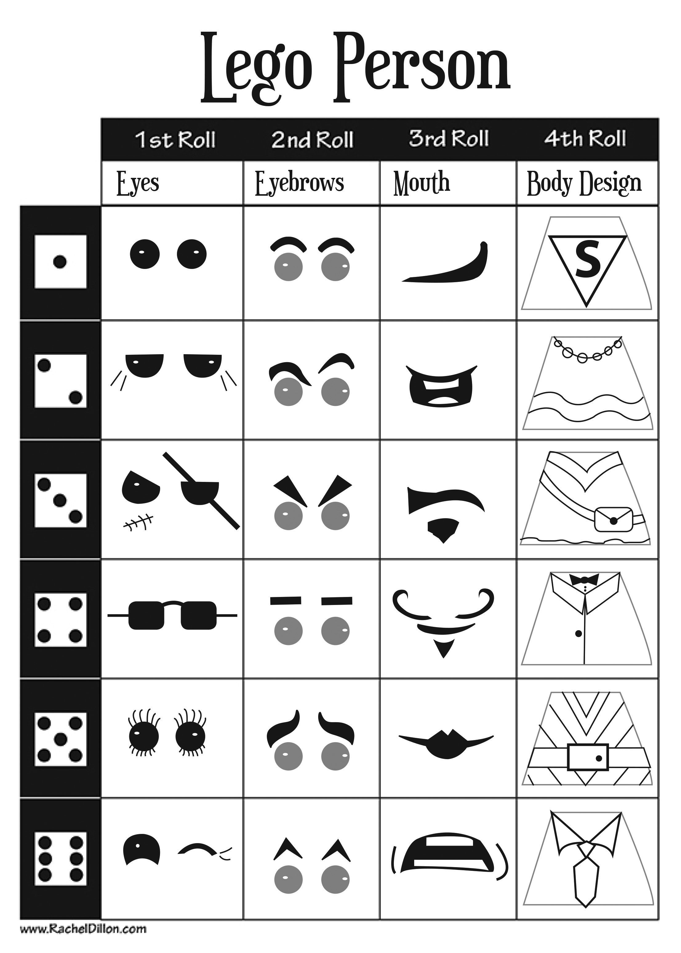 Lego Person Dice Game For Kids Art Project This Is A Great Sheet For Kids To Work Off Of When