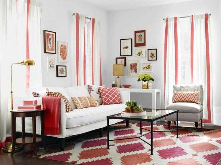 petit salon moderne en rouge et blanc | Salon moderne en 2019
