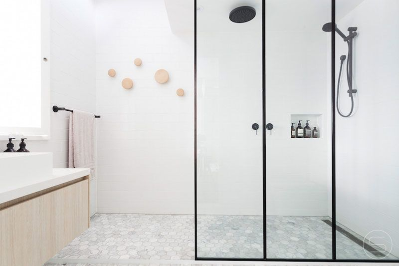 Bathroom Design Ideas Black Shower Frames Black Frames Surround The Glass Panels Of This Shower A In 2020 Black Shower Doors Black Shower Framed Shower Enclosures