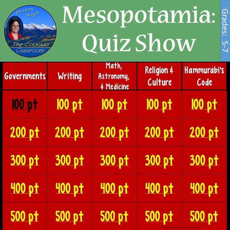 Mesopotamia: Quiz Show | Early Civilizations Africa Asia