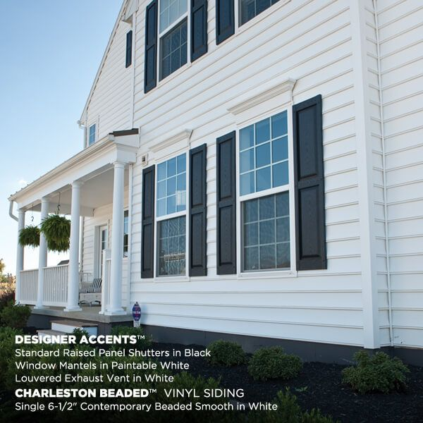 Charleston Beaded Vinyl Siding W Designer Accents Don T Know If We Want Beaded Anymore White Vinyl Siding Vinyl Siding House Vinyl Exterior Siding