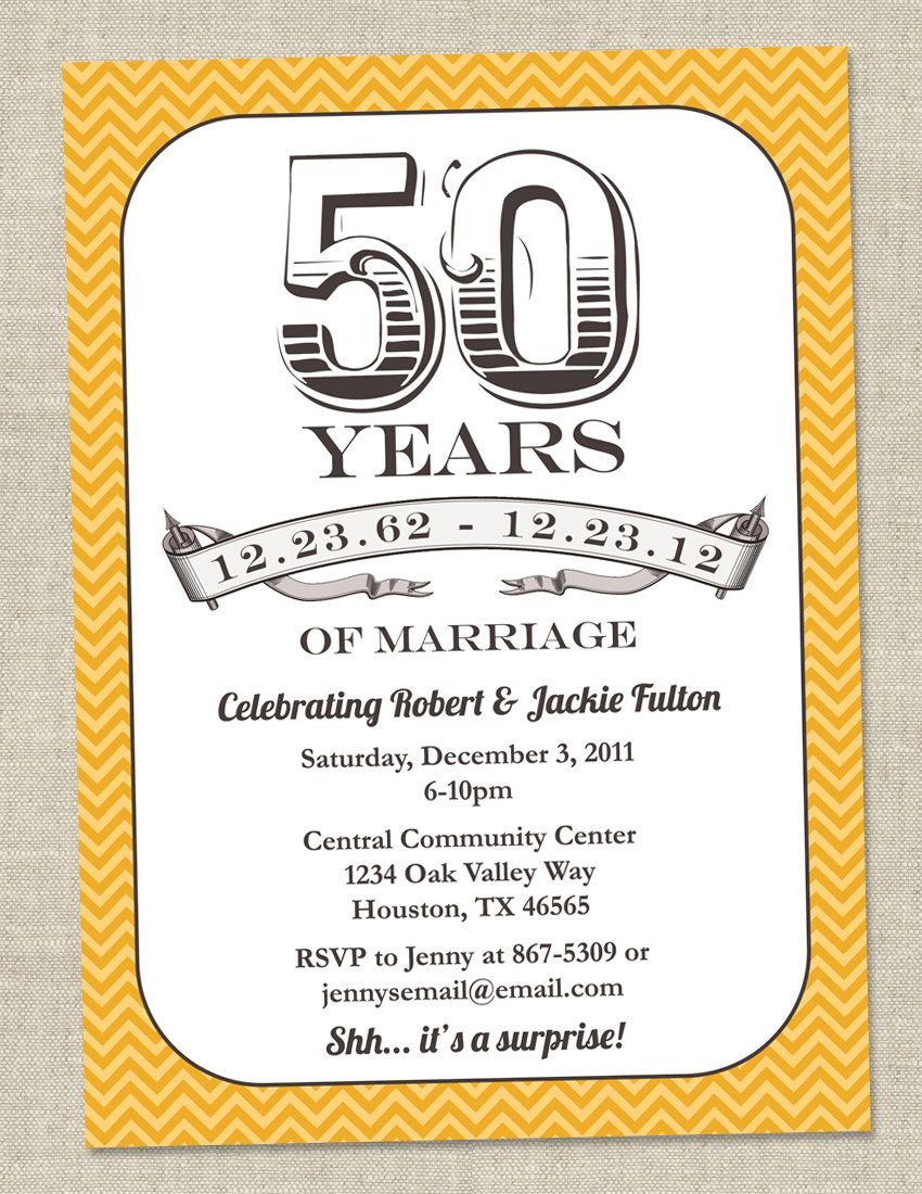 50th Anniversary Invitation - Gold Golden Vintage Anniversary Party ...