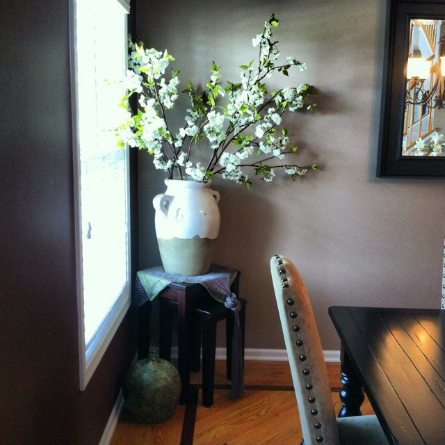 The New And Improved Not So Empty Corner Of My Dining Room Looks Much Better With Something There Dining Room Corner Home Decor Family Room