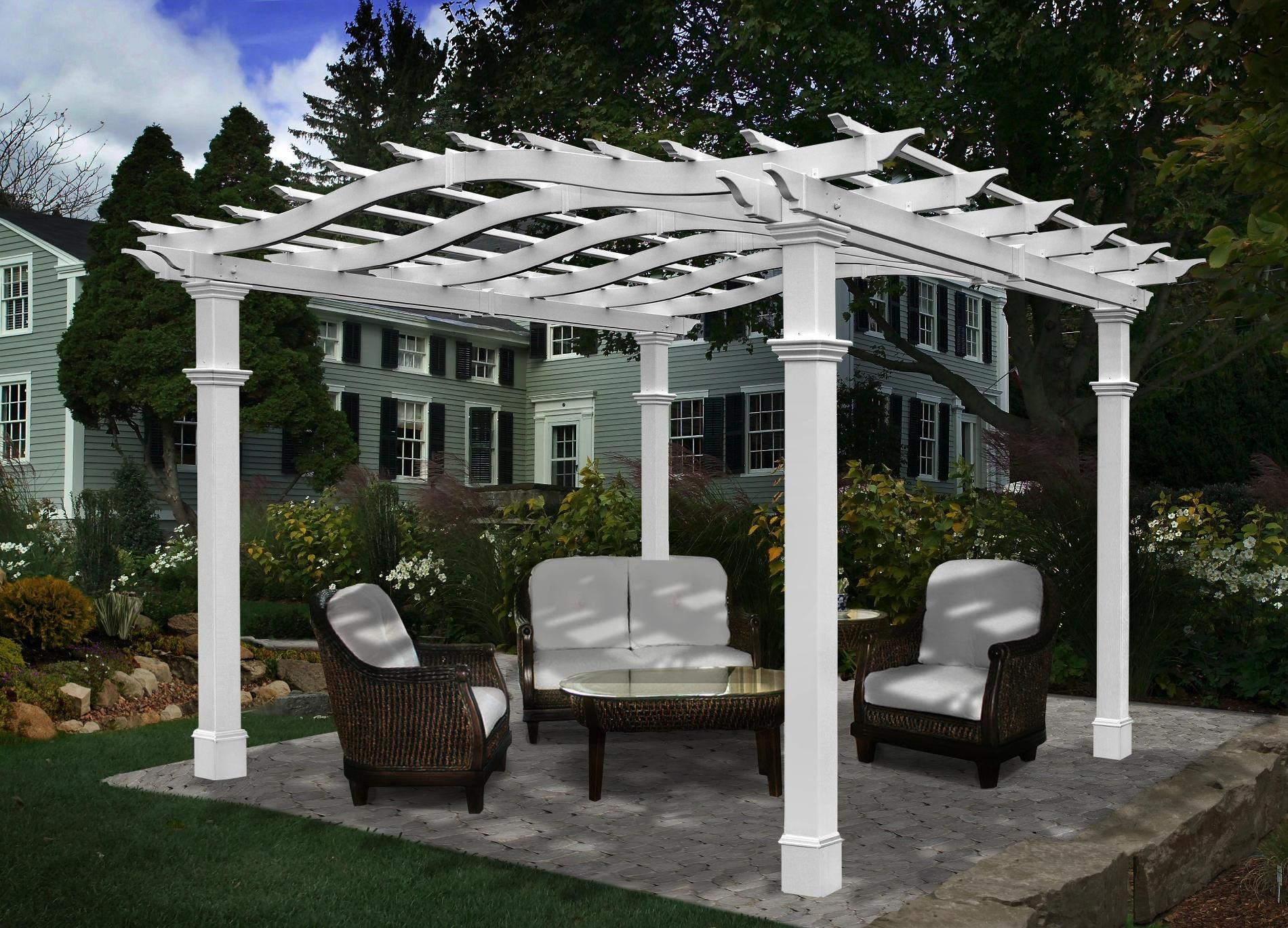 New England Arbors Rio 10 X 10 Arch Top Pergola With Short Base Moldings Outdoor Living Gazebos Canopies Outdoor Pergola Pergola Designs Vinyl Pergola