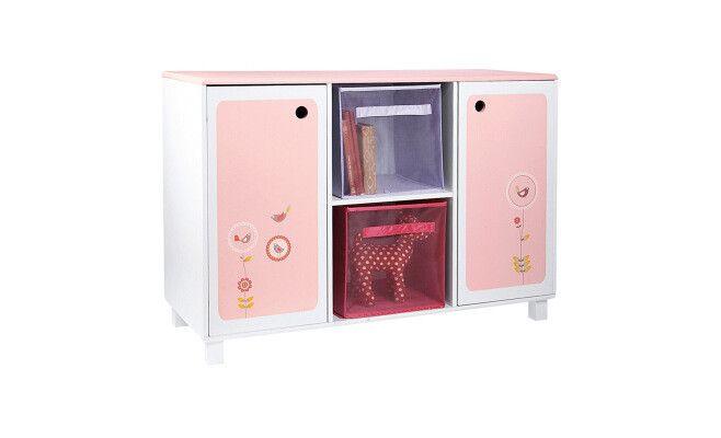 Meuble 2 portes en bois rose clair et blanc 100 x 40 x 69,4 cm