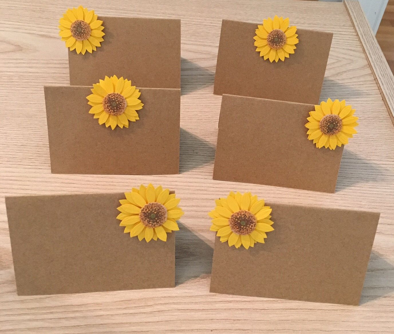 Sunflower Wedding Place Card Holder Rustic Wooden Place Card Holder