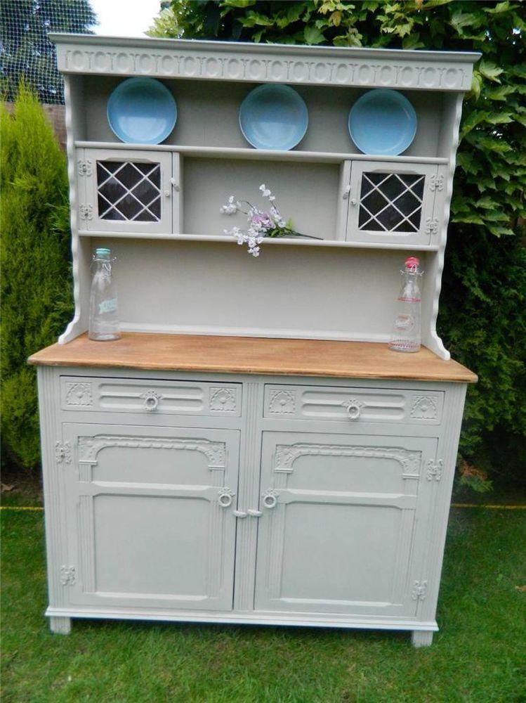 Shabby Vintage Oak Welsh Dresser Storage Display Cabinet Painted