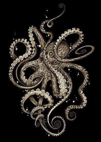 Octopsychedelia Sepia Poster