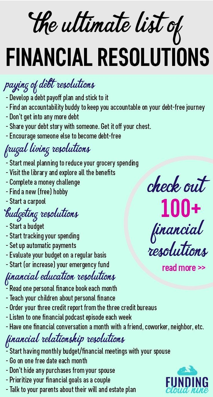 100+ Financial Resolutions to Make 2018 Your Best Year