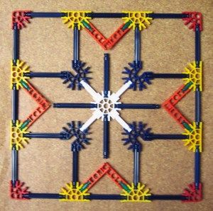 Use K'NEX to make patterns based on quilt blocks. Site has several sample…
