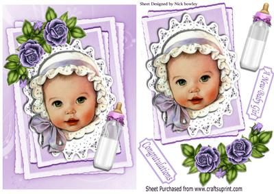 Baby girl in purple bonnet on lace topper with roses on Craftsuprint - Add To Basket!
