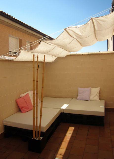 28 Diseños de toldos para terrazas Patios, Backyard shade and Backyard
