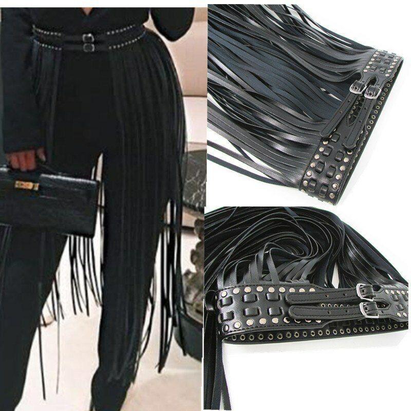 Women/'s Gold Double Buckle Tassel Faux Leather Ladies Belt Long Skirt Mini Dress