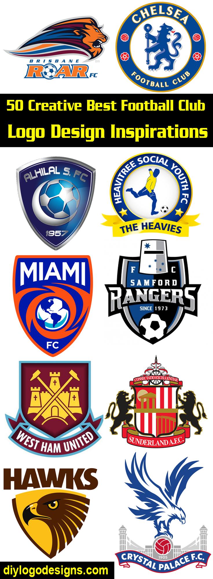 50 Creative Best Football Club Logo Design Inspirations See Full Collection Logo Design Inspiration Logo Design Diy Logo Design Creative