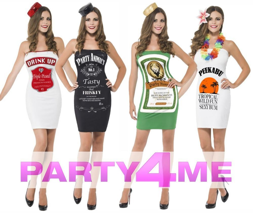 Ladies Alcohol Bottle Costume & Hat Vodka Malibu Dress Hen