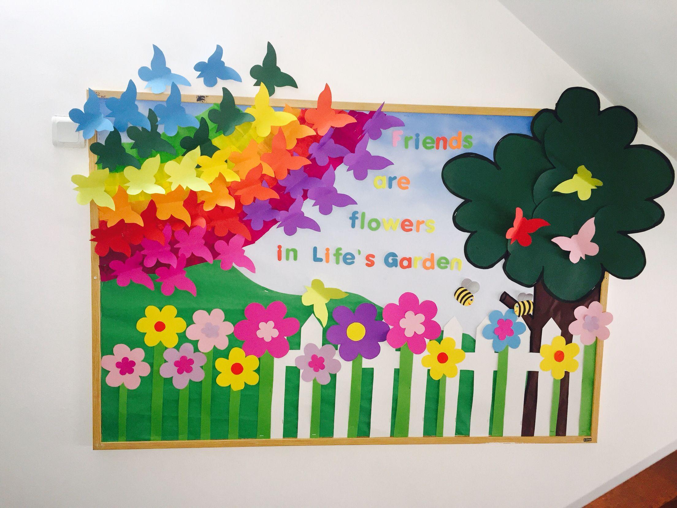 Bulletin Boards, Friends are Flowers in Life's Garden, school, preschool, kindergarten, spring, flowers, butterflies, rainbow, tree, colors