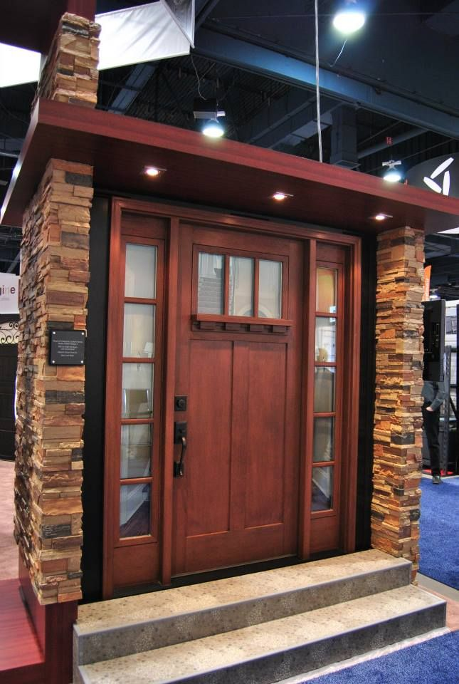 Clopay Craftsman Collection Stained Fir Grain Fibergl Front Door With Clarion Gl And Sidelights Optional Dentil Shelf Hardware