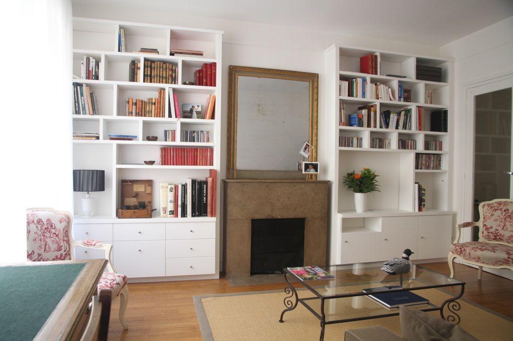 Bibliotheque Sur Mesure Paris Nantes Lorient Vannes Decoration Salon Contemporain Idee Deco Petit Salon Deco Appartement