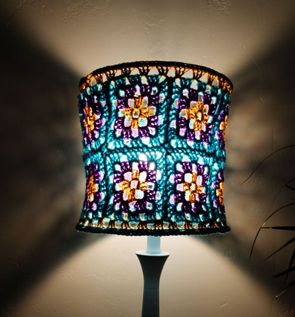Hippie Crochet Lampshade Granny Square Aqua Blue Purple Pansies