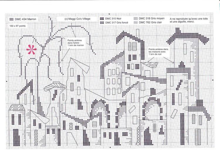 Les toits de Paris au point de croix Vintage patterns, Stitch and