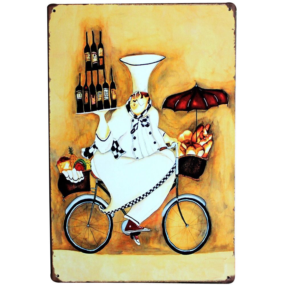 Chef on Bicycle Vintage Metal Sign Tin Decor Cook Plaque Food ...