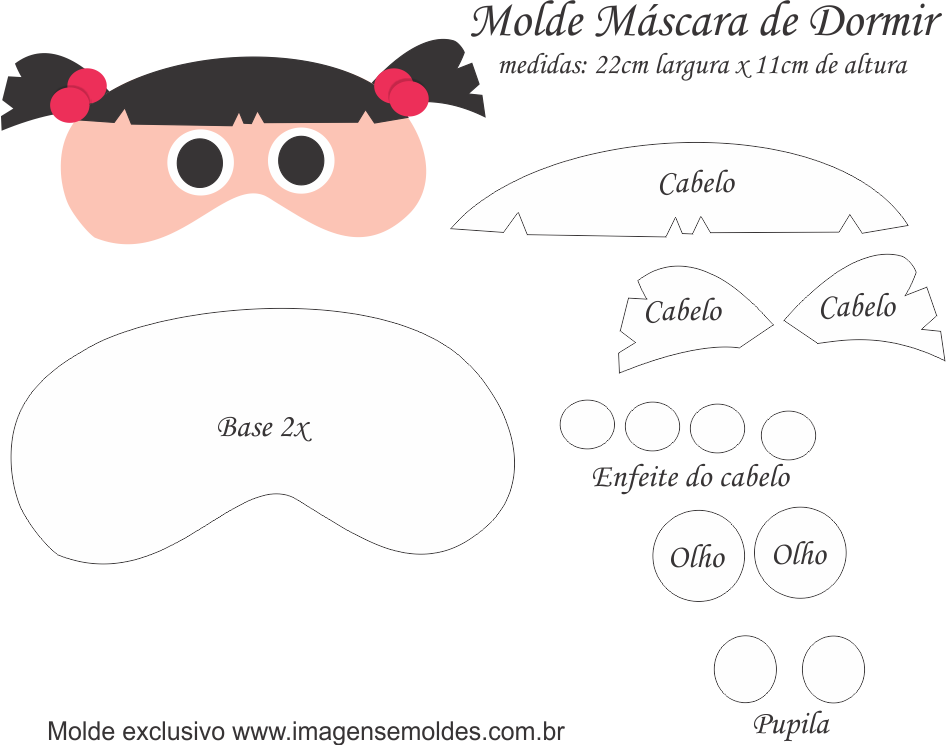 Molde Máscara de Dormir Boo M SA - Molde EVA e Feltro | Antifaz para ...