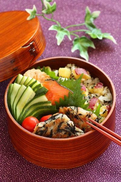 traditional japanese food | Traditional Japanese Wappa Bento Box Lunch.