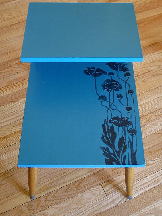 Turquoise Two Tier Mid Century Side Table Set With An Art