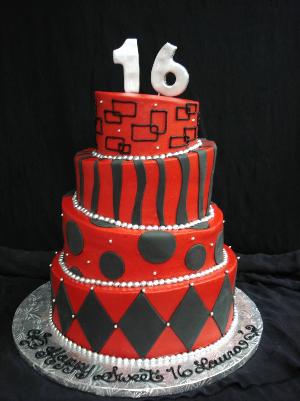 Astonishing Red And Black Themed 16Th Birthday Cake An Ideal Fit For Boys And Funny Birthday Cards Online Bapapcheapnameinfo