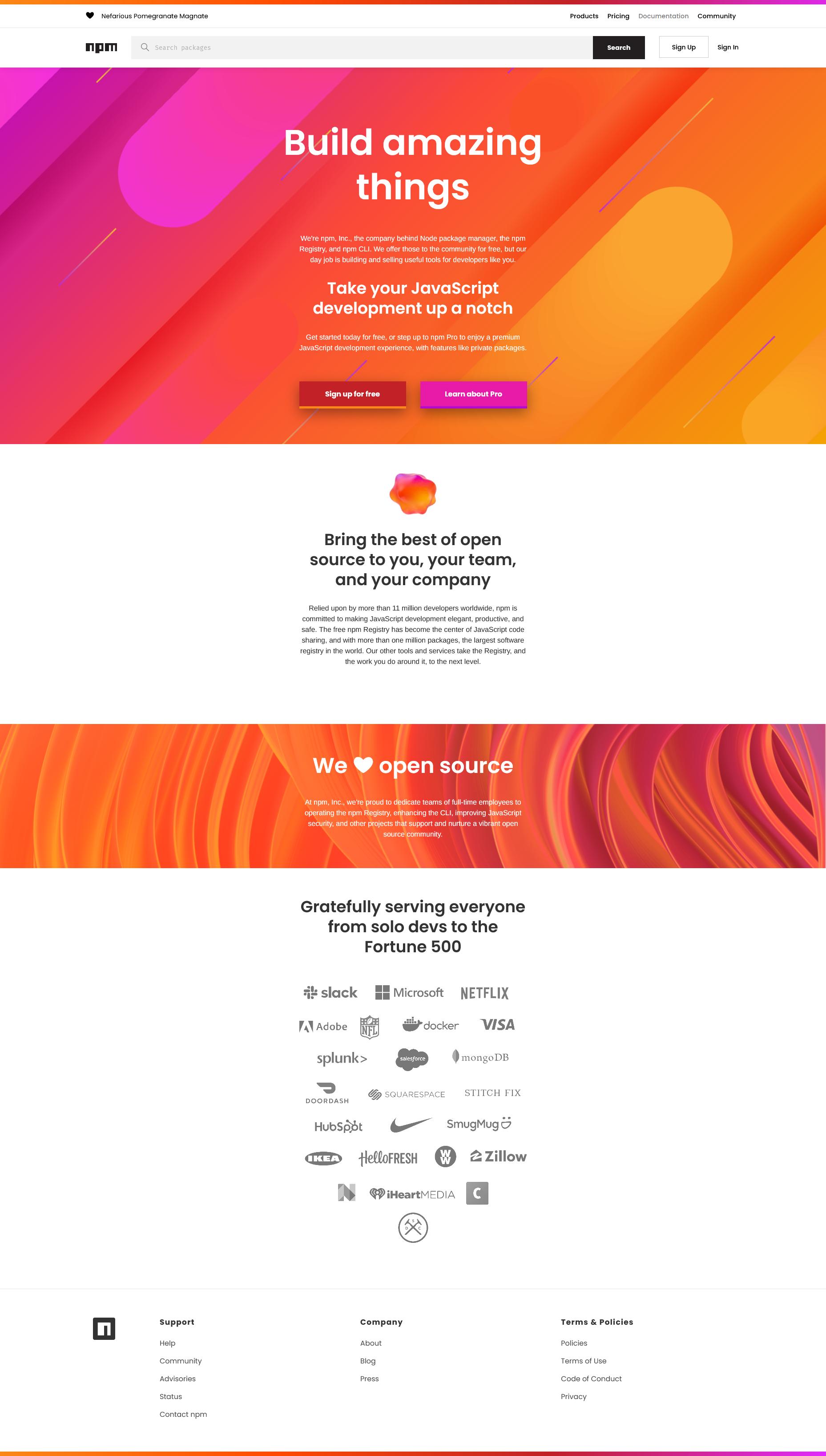 pagina oficial de npmjs en la que encontrar recursos para tu proyecto angularjs