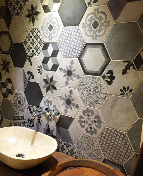 bathroom with hexagon terra collection marca corona. Black Bedroom Furniture Sets. Home Design Ideas