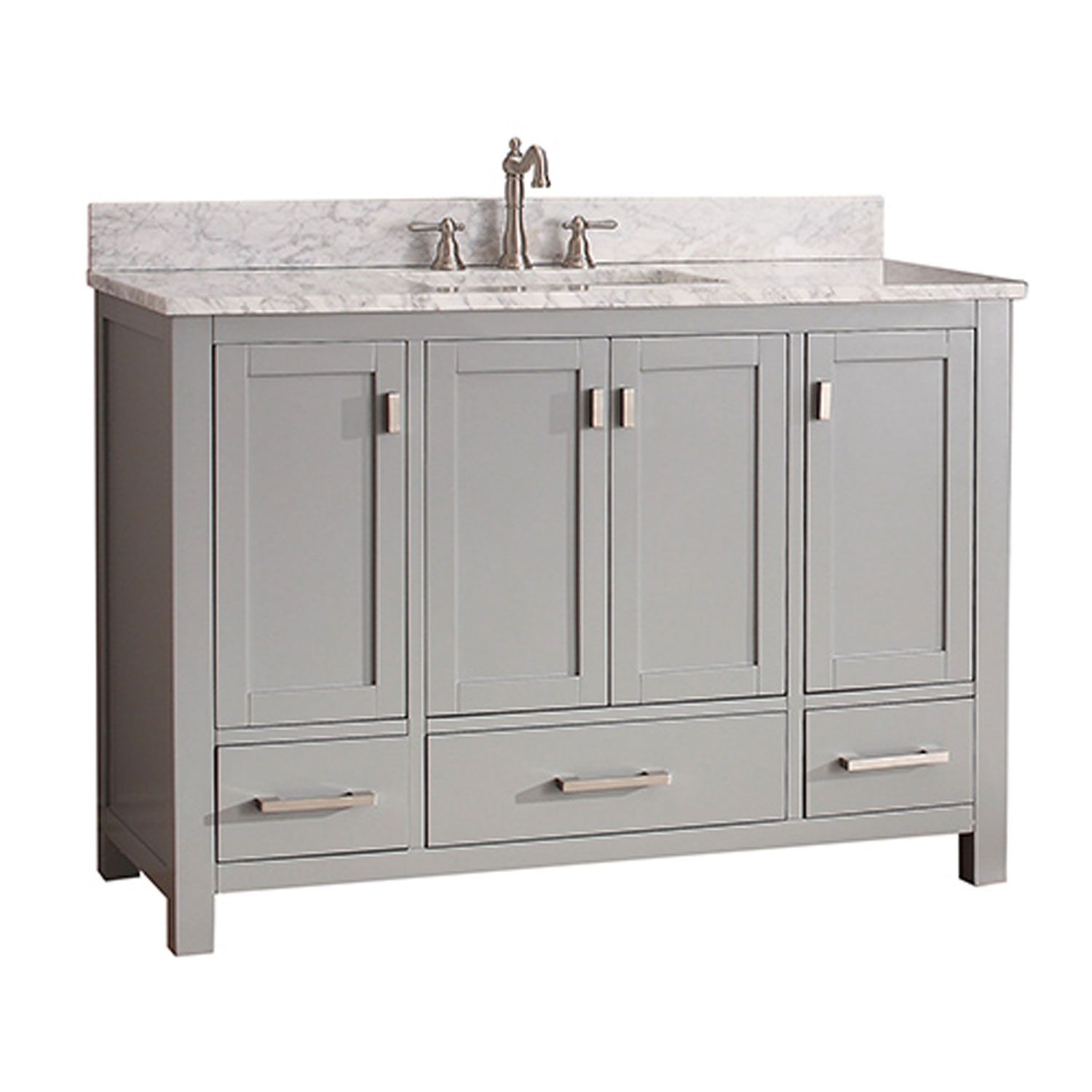 Uptown Soft Gray 48 Inch Vanity Combo With White Carrera Marble Top 251 First