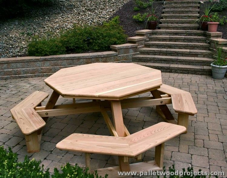 Pallet Picnic Table And Benches Pallet Picnic Tables Picnic - Round picnic table with benches