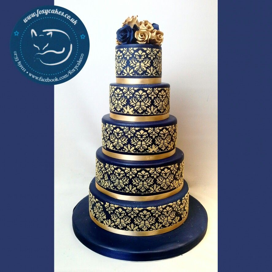 baby blue and gold wedding cake stunning navy and gold stencil cake made by the foxy cake 10991