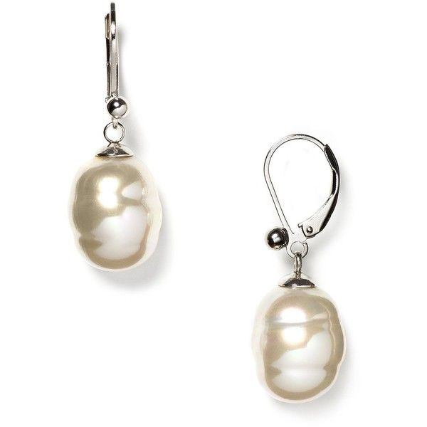 Majorica Women's 12mm Baroque Grey Man-Made Pearl Drop Earrings ($75) ❤ liked on Polyvore
