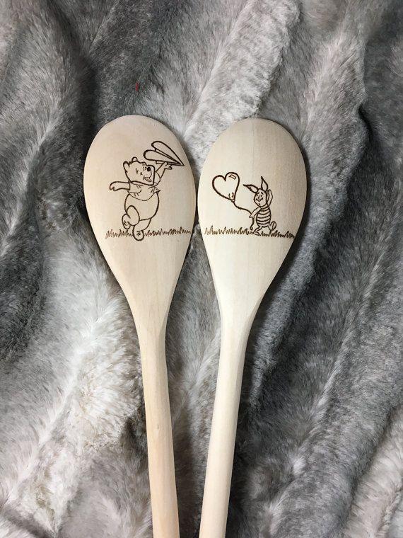 0fe7009bcee66 Winnie the Pooh wood burned spoons | Woodburned spoon | Wooden ...