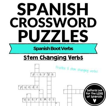 Spanish Stem Changing Verbs Spanish Boot Verbs CROSSWORD | High ...
