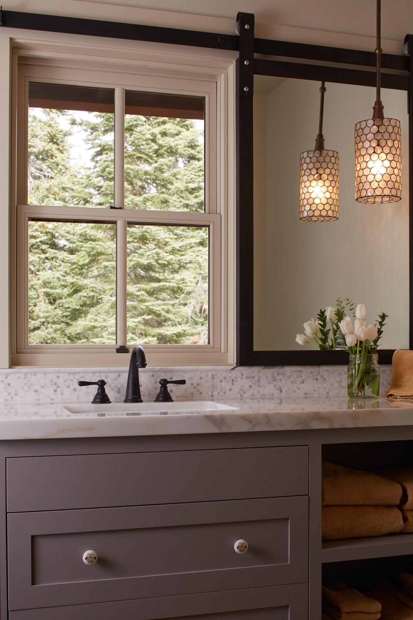 Clever mirror solution for window over vanity. Sliding track for ...