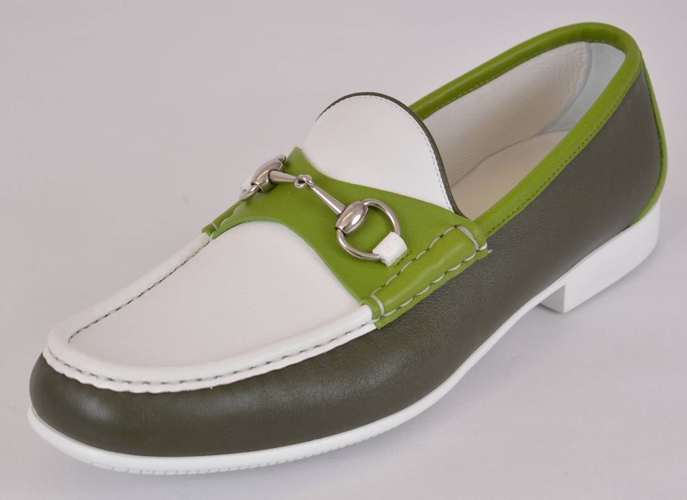 84bb1cf5133 NEW Gucci Men s 337060 Green White Leather Horsebit Loafer Shoes 10.5 G  11.5 US  Gucci  LoafersSlipOns