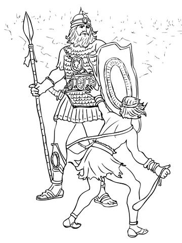 David and Goliath Fight coloring page from King David ...