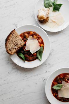 Roasted Bone Broth Tomato & Bean Soup with Sourdough Bread