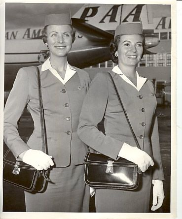 1950s Two Pan Am Stewardesses In Full Uniform Of The Era