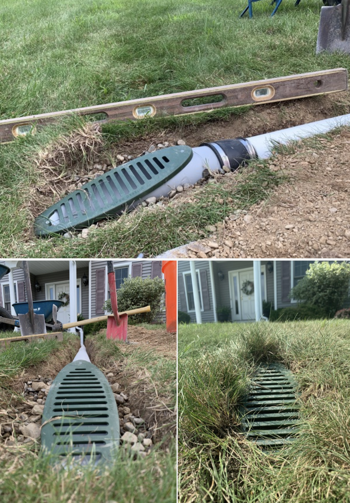 Buried Downspout Drainage System Installation Gutter Water Piped Underground To A Surface Drain In 2020 Backyard Drainage Downspout Drainage Yard Drainage