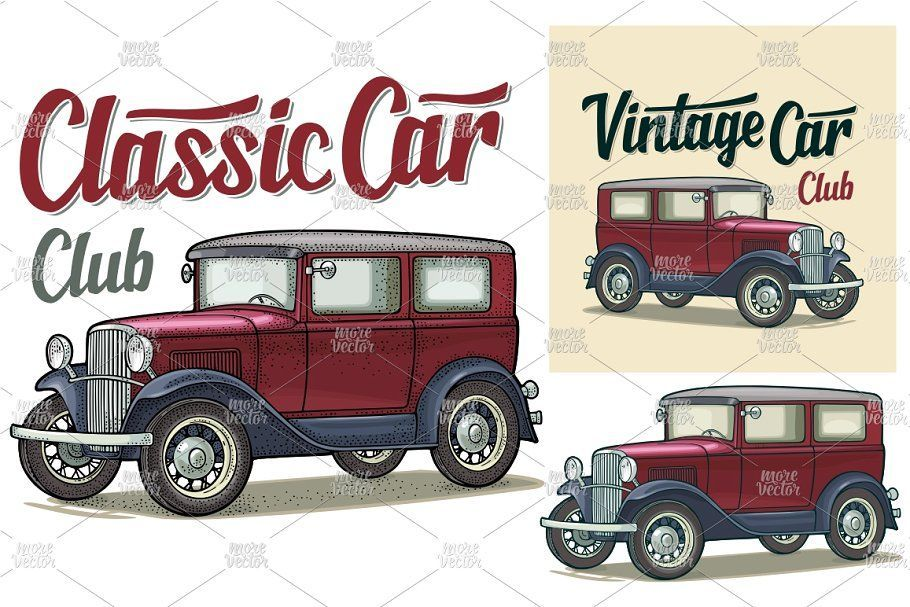 Retro sedan. Side view. Classic Car , #spon, #Car#Classic#calligraphic#Club #AD
