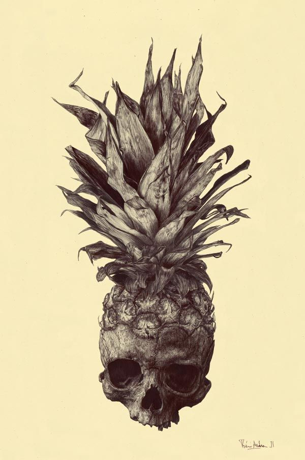 """Studio FLOZ Co-Founder and Director Rémi Andron from France was asked by a friend to reinterpret a tattoo. The name """"CRANANAS"""" is a mixture between the two French words: """"crâne"""" for skull and """"ananas"""" for pineapple. It's drawn with a black ball pen on pale yellow paper."""
