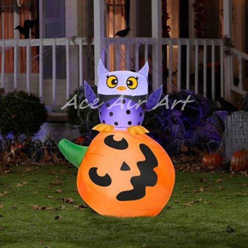 AceAirArt Owl and Pumpkin Stack Halloween Airblown Inflatable - inflatable halloween decoration